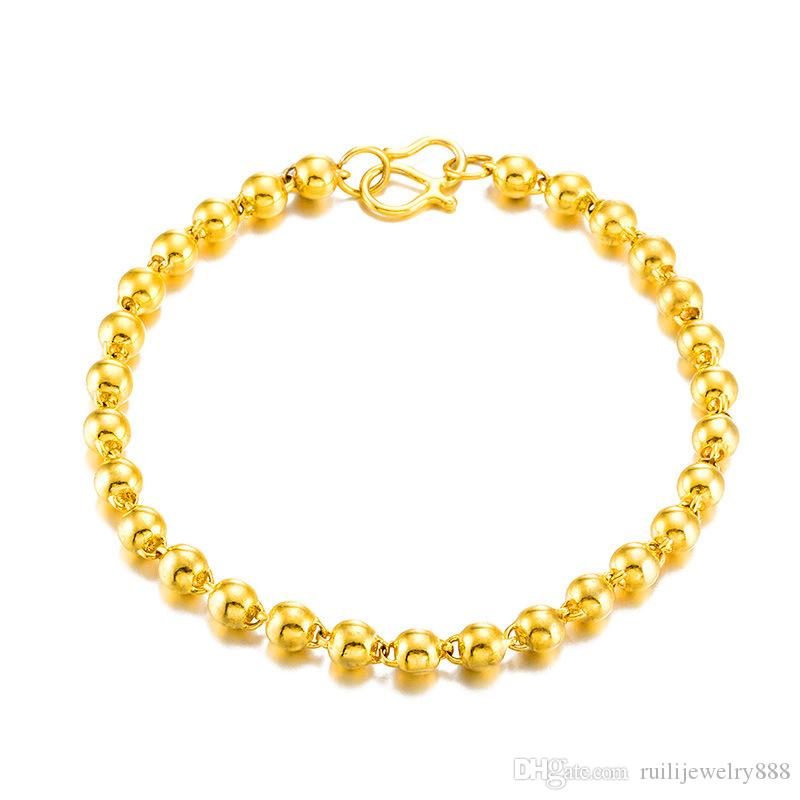 Luxury 24 K golden surface beads beads bracelet K gold transport round bead placer gold bracelet & women do not fade