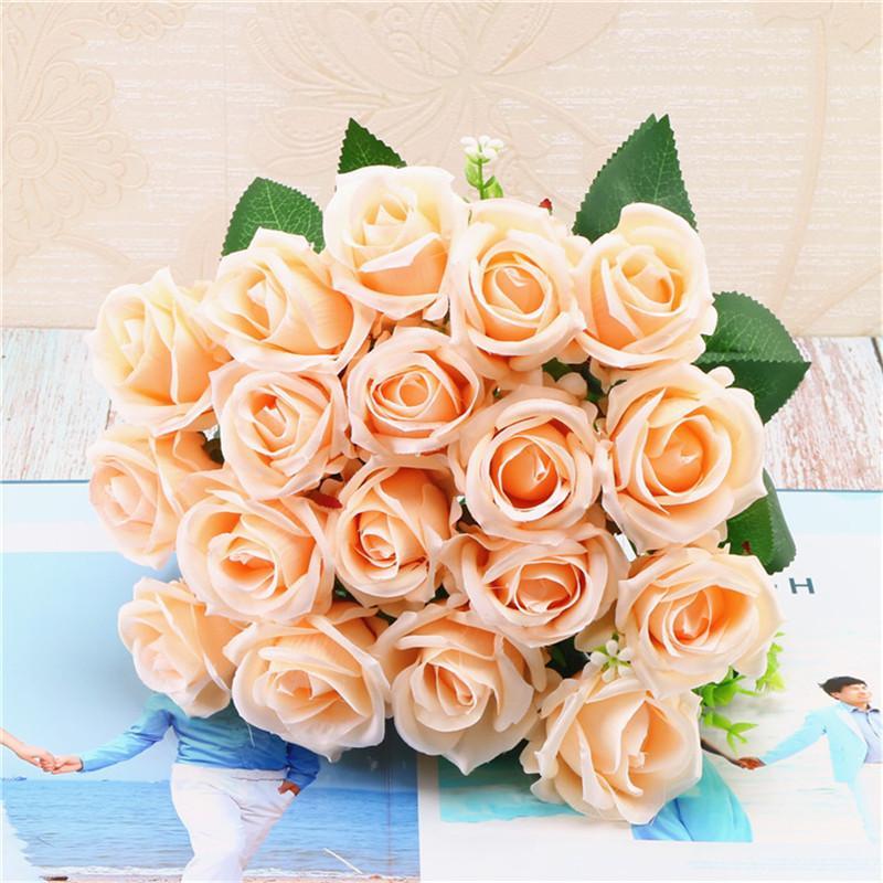 9 köpfe Gefälschte rose Künstliche blumen rose artificielle Hause Hochzeit Dekorationen mariage Floral flores artificiales seide