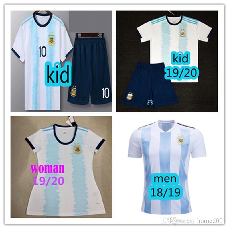 2019 2019 2020 New Argentina Woman Men Soccer Jersey Copa Kid Kit 18