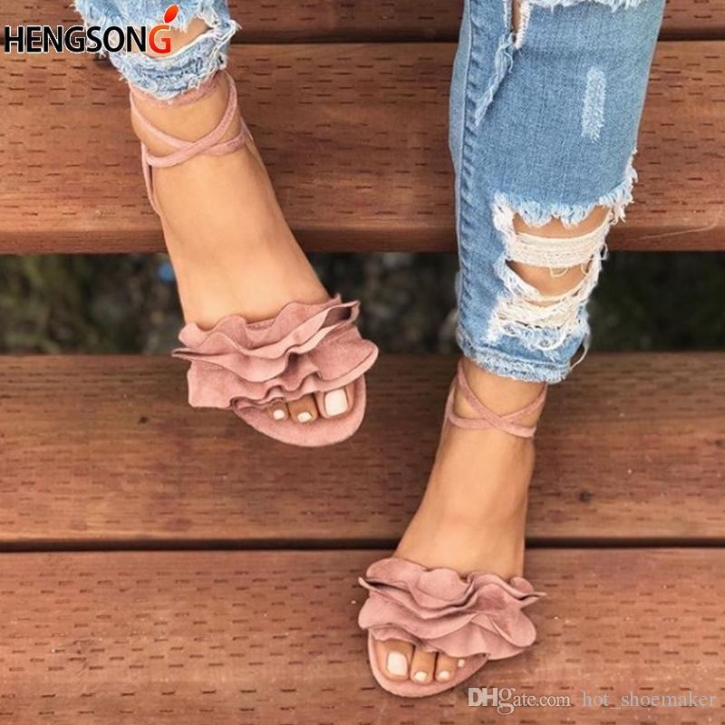 56210662 Compre Tallas Grandes Sandalias Para Mujer Zapatos De Mujer Sandalias De  Vendaje Cruzado Zapatos De Verano Pisos Con Cordones Correa Del Tobillo  Sandalias ...