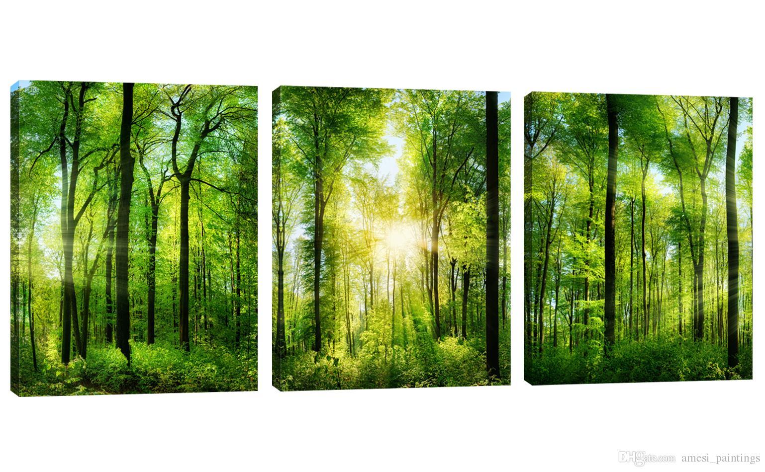 Acheter Forêt Verte Sans Cadre Imprime Sur Toile Tableau Peinture