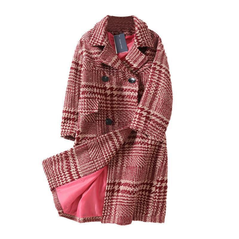 2834f700ef821 2019 Women Nice New Winter Vintage Coat Red Plaid Oversize Long Wool Coat  Women Plus Size Retro Coats Thick Outwear From Tallahassed9