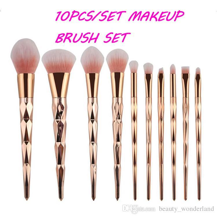 962c1b1951ee Gold Rainbow Unicorn Oval Beauty Make up Brush Set Professional Foundation  Powder Cream Blush Makeup Brush Kits 10pcs /Set