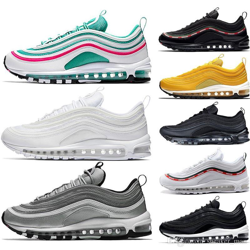 new styles 0bd33 a935d Compre Nike Air Max 97 South Beach Triple Bala De Plata Blanca 97 97s  Zapatos Para Hombre Zapatillas Mostaza Para Hombre Zapatillas De Deporte De  Diseño De ...