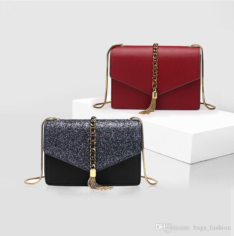 9cde0884cfe4f Fashion Women Crossbody Bags Girls Sequins Tassel Small Fresh PU Leather  Female Shoulder Bags Simple Solid Color Ladies Elegant Bags Free S Fashion  Handbags ...