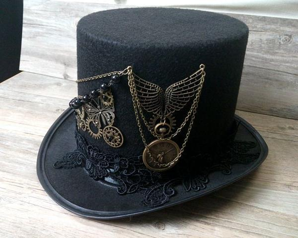 Accessories Hats Handmade Steampunk Retro Vintage Top Hat Gothic Wool Victorian Hats With Gears Lace Wings Chain Party Accessories