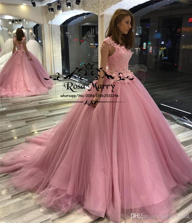 2a64c3f6a Compre Pink Sweet 16 Vestido De Bola Vestidos De Quinceañera 2019 Mascarada  Vintage Lace Beading Plus Size Girls Birthday Prom Vestido De Fiesta Vestido  De ...