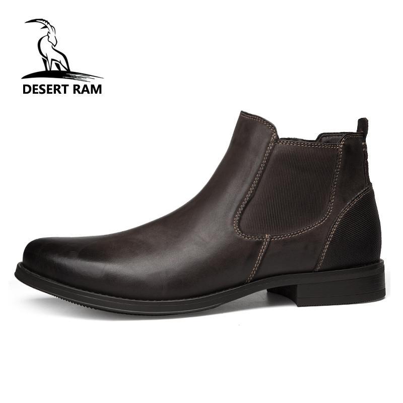 fbff7d69137a7 Compre DESERT RAM Marca Botas Para Hombre De Cuero Genuino Oxford Zapatos  De Vestir Para Hombre Británico Chelsea Zapato Para Hombre De Negocios De  Invierno ...