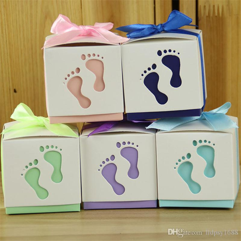 100pcs New Baby Footprint Candy Boxes with Ribbons Casamento Candy Box for Guests Paper Gift Bag Baby Shower Wedding Party Supplies