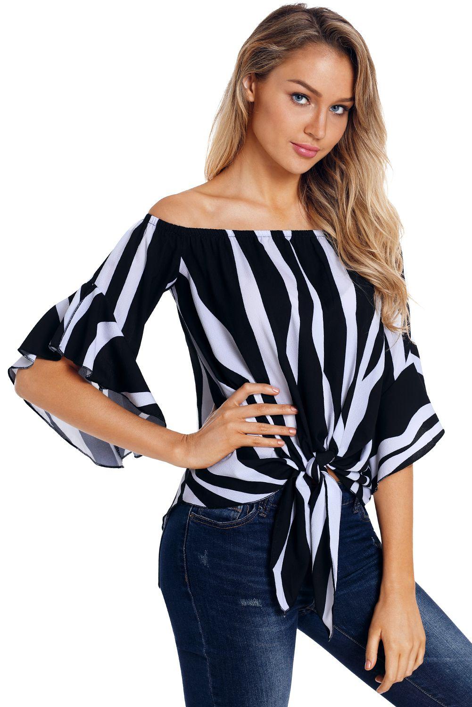 54740c0d9ad 2019 Autumn Blouse Shirt Women Off Shoulder Vertical Half Sleeve Stripes  Tops Blusas Femme Sexy Plus Size XXL MS262162 From Mscamellia