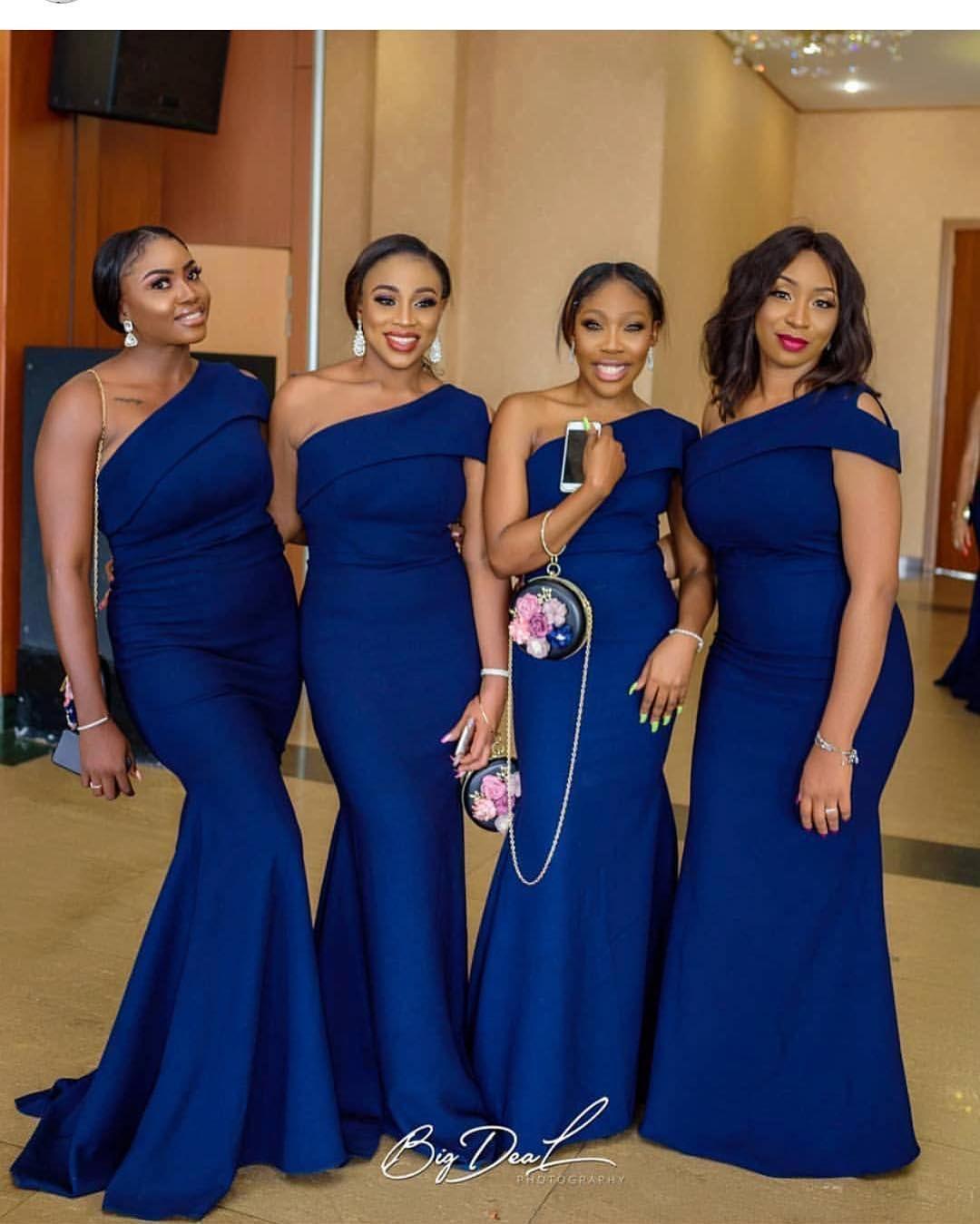 2019 Royal Blue African Mermaid Bridesmaid Dresses Pleats