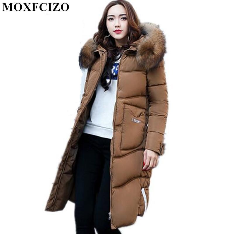 192990878684 2018 Winter Jacket Women Hooded Cotton Coat Big Fur Collar Thicken ...