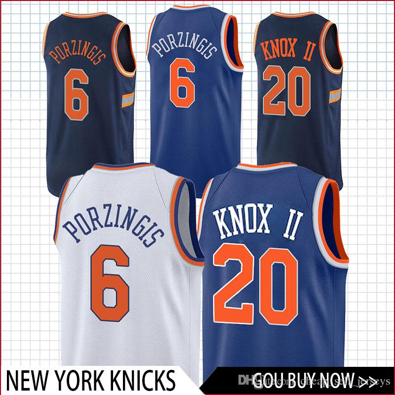 d805a6a32 2019 Top 20 Knox 6 Porzingis Knicks Jersey Basketball Jersey Men Fans  Clothes Printed From Cheap sell jerseys