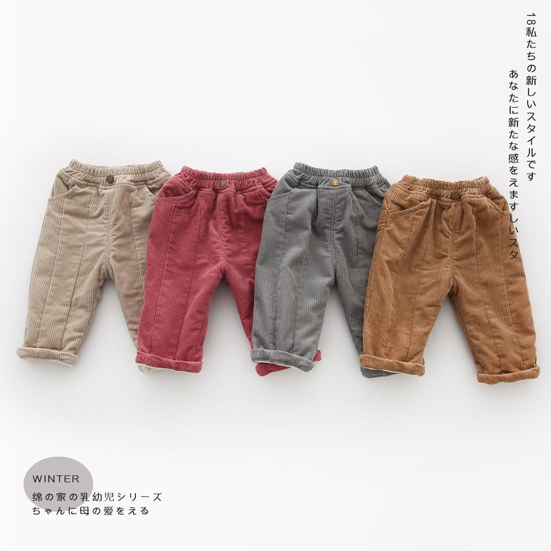 04f67fc76 Baby Boys Warm Corduroy Pants Kids Winter Pants Girls Toddler Thick ...