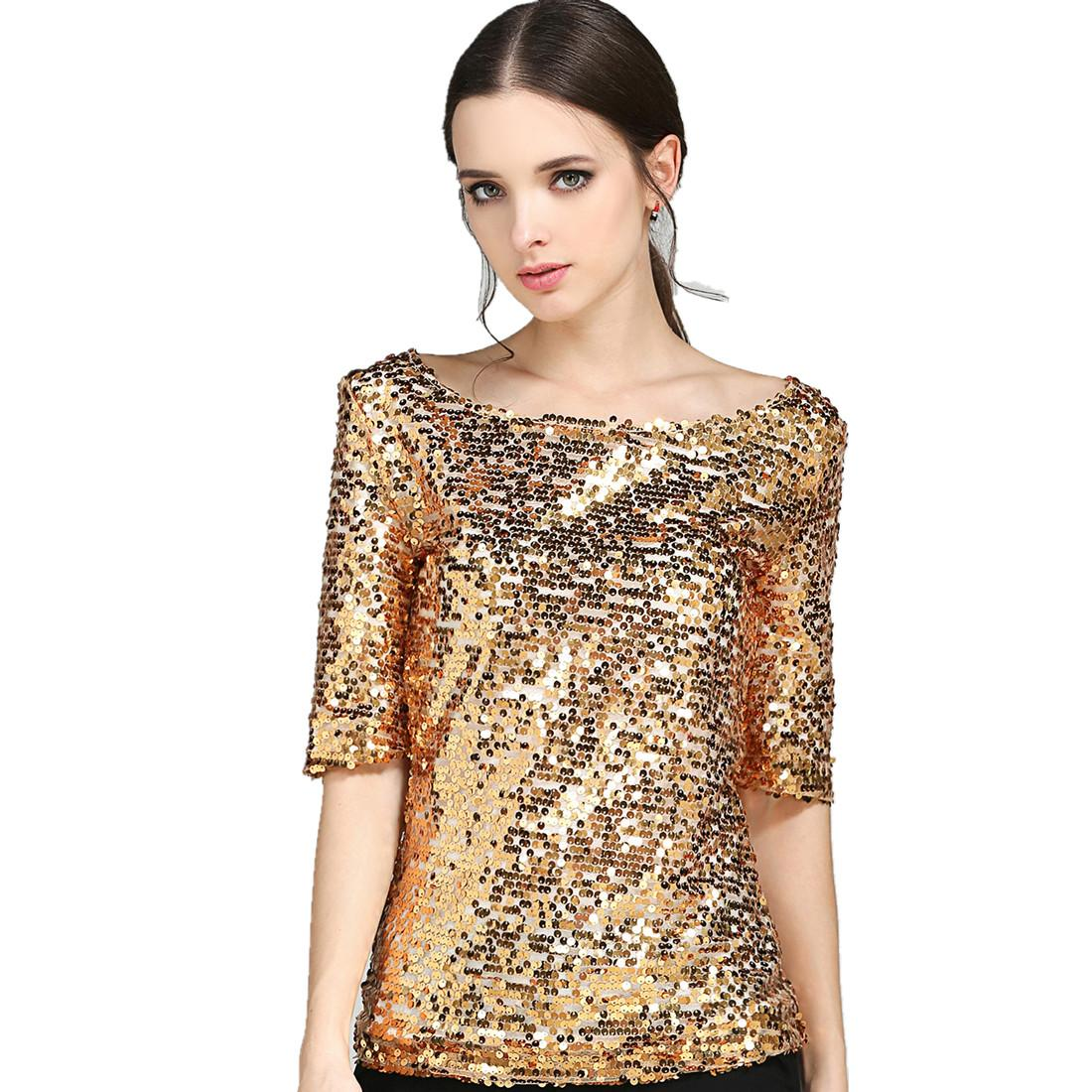 2019 New 2019 Fashion Women Sexy Loose Sequin Glitter Blouses Summer Casual  Shirts Vintage Streetwear Party Tops From Lovegucci8888 91fe6b71ff75