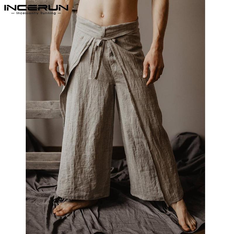 b653aef657f Men Thai Fisherman Pants Wraps Solid Women Yoga-pants Vintage Loose Joggers  Casual Wide Leg Trousers Men 2019 INCERUN Plus Size