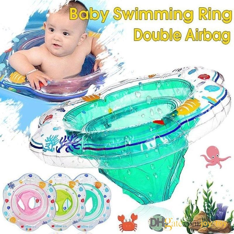 Baby Swimming Ring Double Airbag Seat Bell Pool Floats Bath Water Toy for Swim Training Aid Toddlers