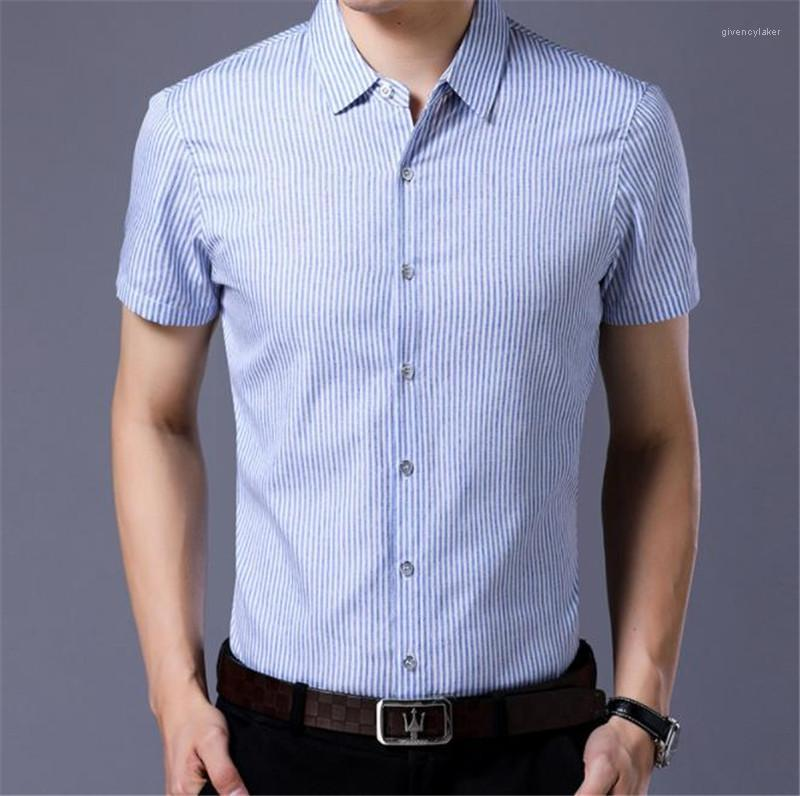 Camisas Casual Turn Down Collar manga curta Mens Shirts Verão Skinny Com Único Breasted Designer listrado Mens