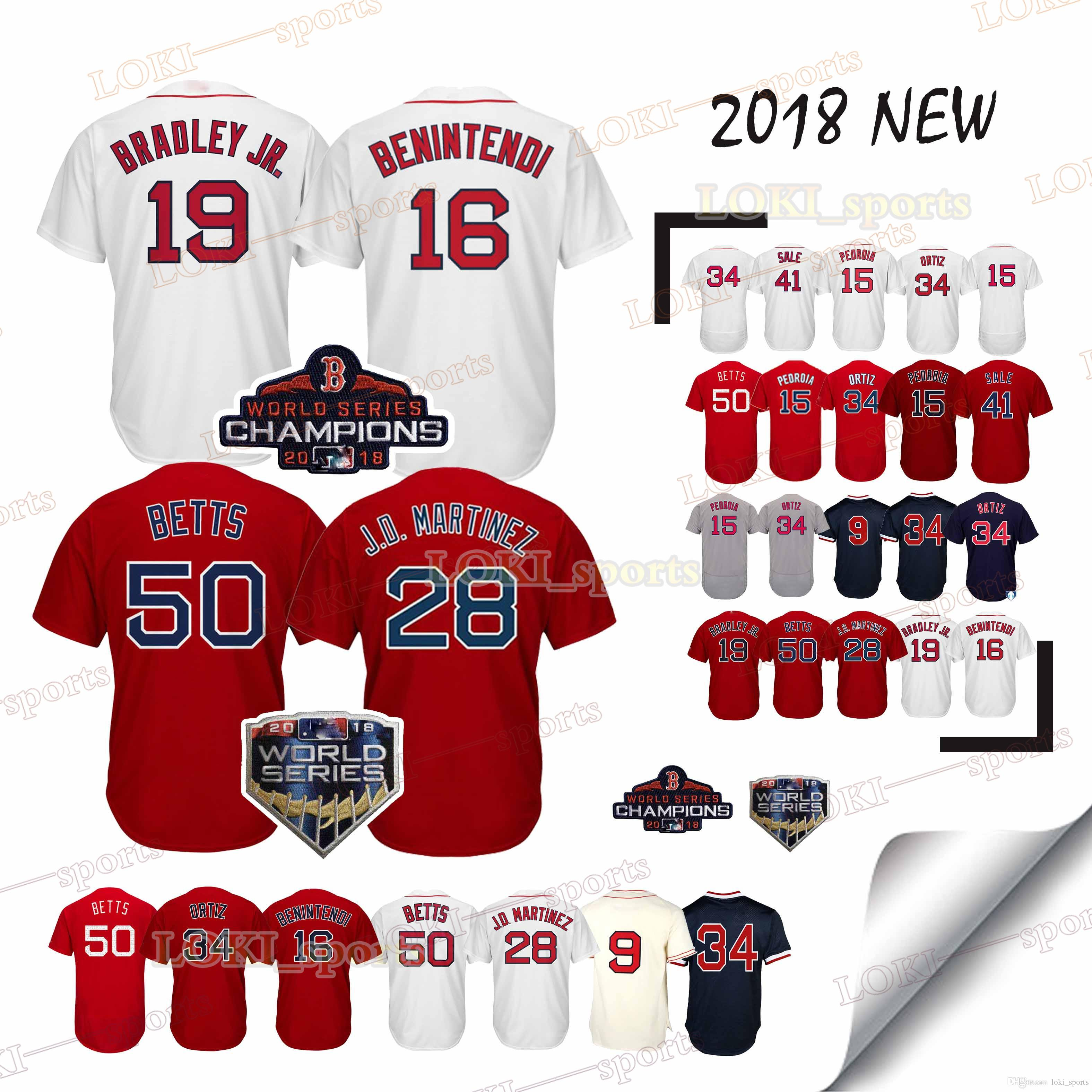 2019 Boston Red Sox Jerseys 50 Mookie Betts 16 Andrew Benintendi 28 JD  Martinez Pedroia Kinsler Bradley Jr 2018 WS Champions Jersey New From  Loki sports baa82270aed