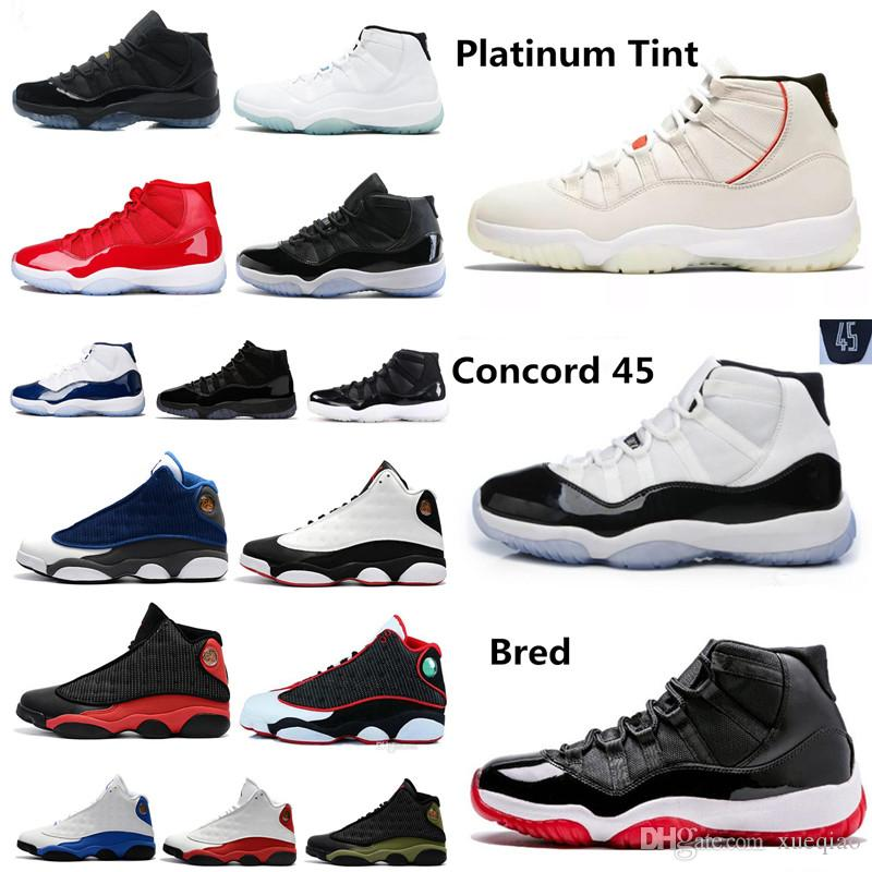 d47a835e73a7 Concord 45 23 Platinum Tint 11 Men Women Basketball Shoes 13 Hardaway Sports  Shoes Gym Red Midnight Navy Space Jam Gamma Blue Sneakers Shoes For Men ...