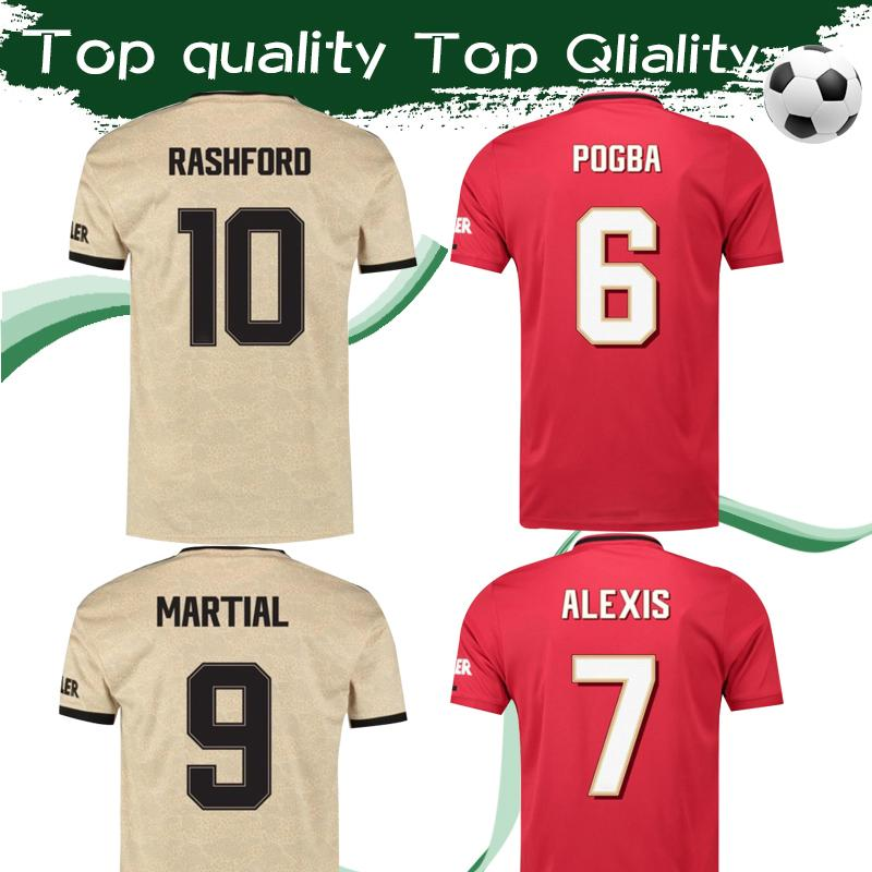 half off d232f dfa1d 2019 United Cup Shirt #10 RASHFORD Soccer Jersey 2019/20 Cup Font Home Red  Football Shirt #6 POGBA #9 MARTIAL 2020 Away Football Uniforms
