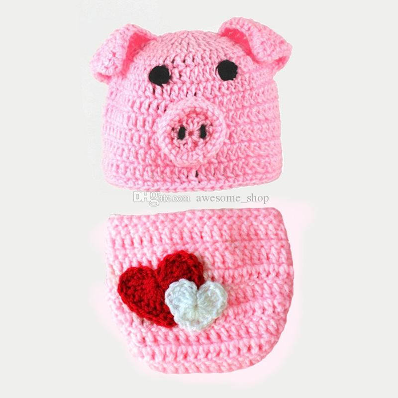 68ed6dacdc44c 2019 Novelty Newborn Pink Pig Outfit,Handmade Knit Crochet Baby Boy Girl  Animal Piggy Hat And Diaper Cover Set,Infant Photography Prop From  Awesome_shop, ...