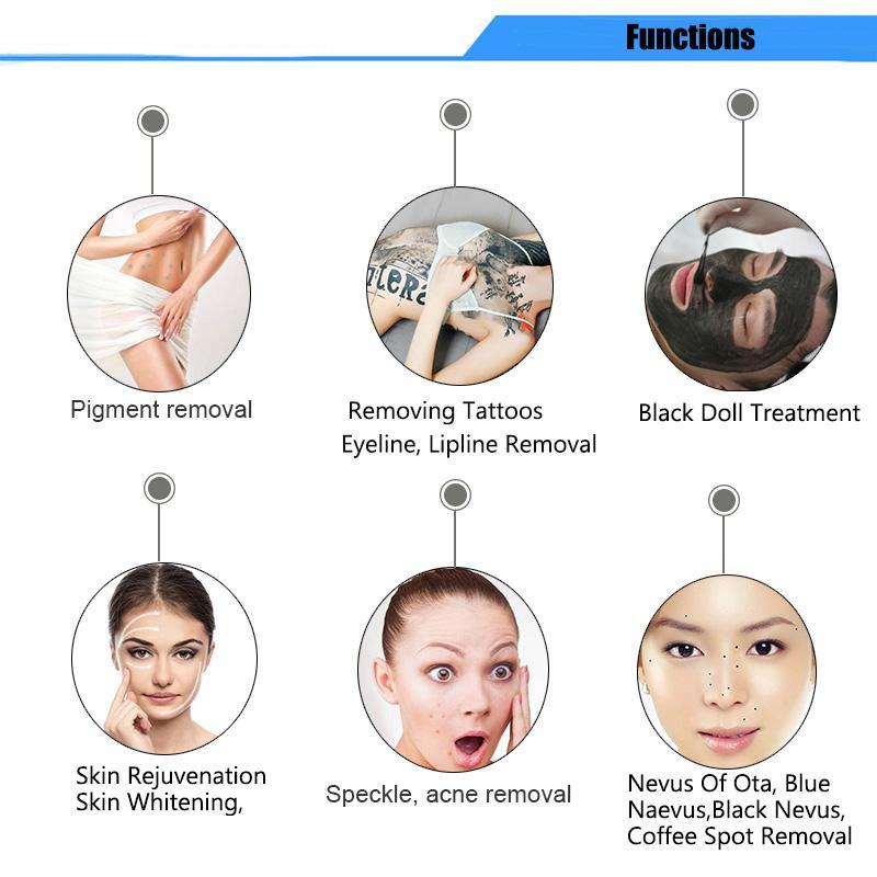 Macchina laser portatile di rimozione del tatuaggio del tatuaggio del Picosecond Q Switched ND YAG Pico Laser Pigment Rimozione Pico Laser Spot Rimozione dell'acne Spedizione gratuita