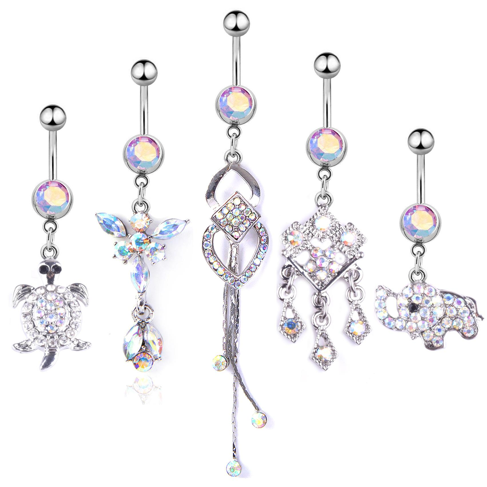 5pcs/set Turtle Elephant Cute Crystal Body Jewelry Stainless Steel Rhinestone Navel & Bell Button Piercing Dangle Rings for Women Gift