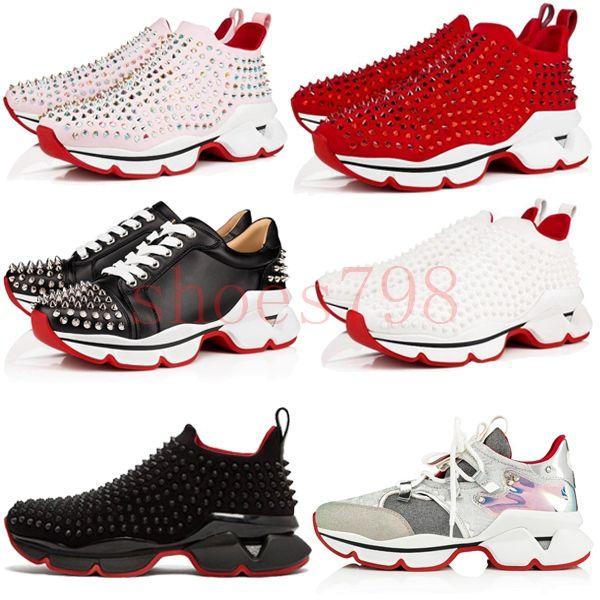 2019 Hot Designer For Mens Red Bottoms Shoes Christian Bottom Louboutin Krystal Spike Sock Luxury Donna Men Wave Runner Women Sneakers