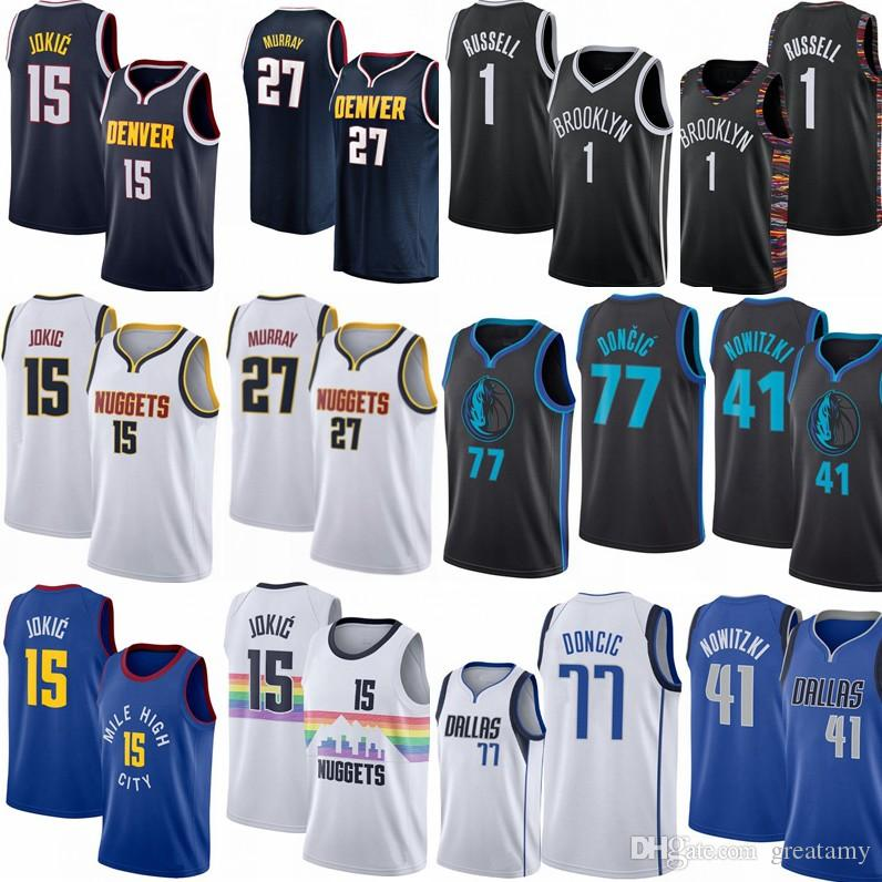 newest f14b8 22931 3 Wade 15 Jokic 27 Jamal Murray 77 Doncic 41 Dirk Nowitzki 1 D'Angelo  Russell City version 100% Stitched jerseys