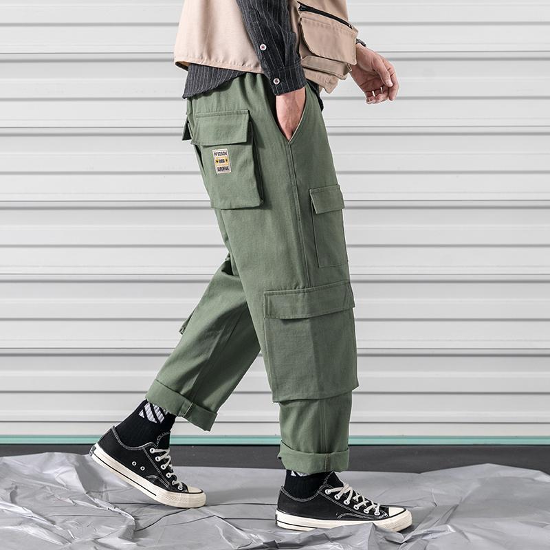 76dd33678d Compre Mens Carga Calças Dos Homens Casuais Multi Bolsos Militares Tamanho  Grande Tactical Pants Homens Outwear Exército Calças Retas Calças Compridas  De ...