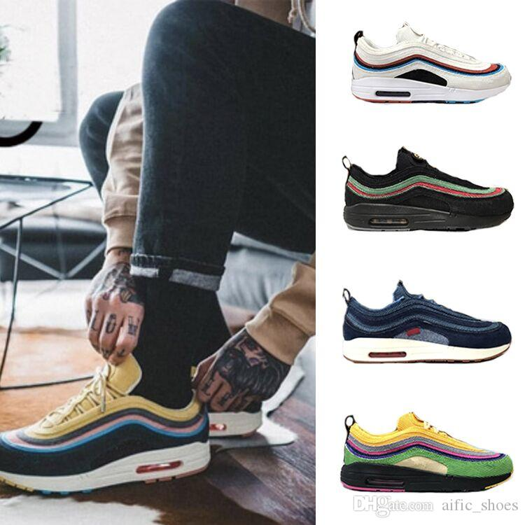cc952248dde7 97 Sean Wotherspoon Men Sneakers Shoes Women Vivid Sulfur Multi Yellow Blue  Hybrid Sports Shoes Brand Designer Trainers Size 36-45 With Box 97 Sean ...