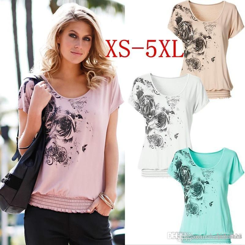 960b6717dbf Women s Fashion Summer Sexy Loose Short Sleeve Blouse Printed ...