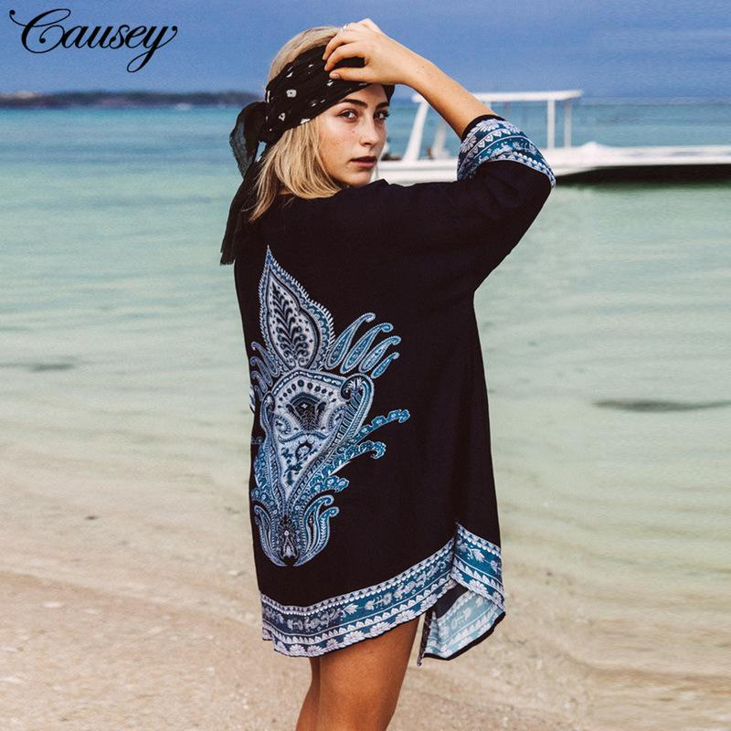 253b0c9ddf Beachwear For Women Beach Clothing Cover Ups Women's Tunic Woman Cover-Up  Nepal Wear Milk Silk Outerwear Shirts Print Acetate