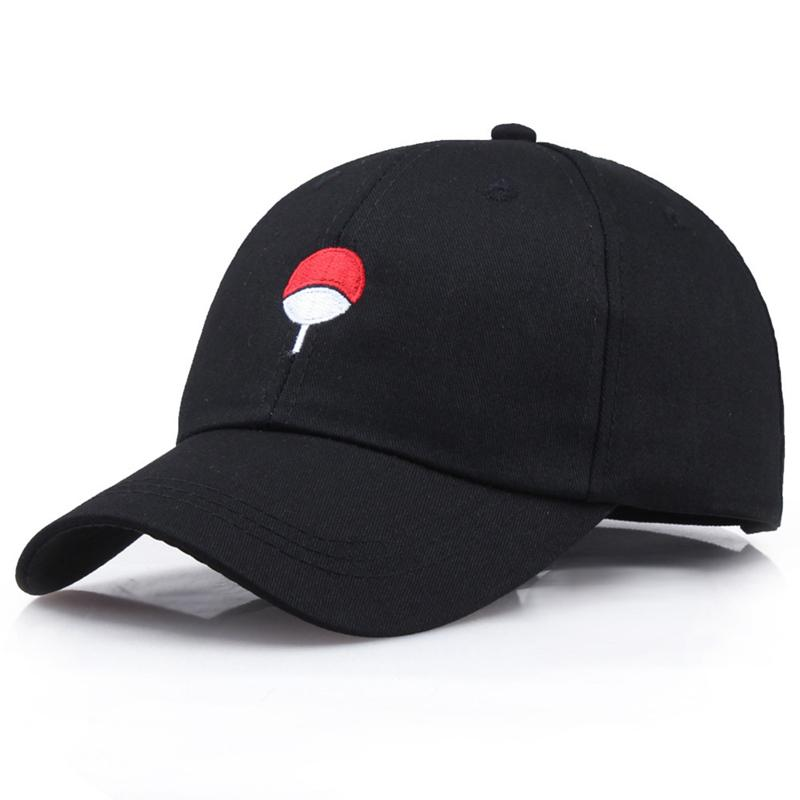 a386278df8207 Fashion Style Japanese Anime Naruto Dad Hat Uchiha Family Logo Embroidery  Baseball Caps Black Snapback Hat Hip Hop For Women Men Baseball Cap Flat Cap  From ...