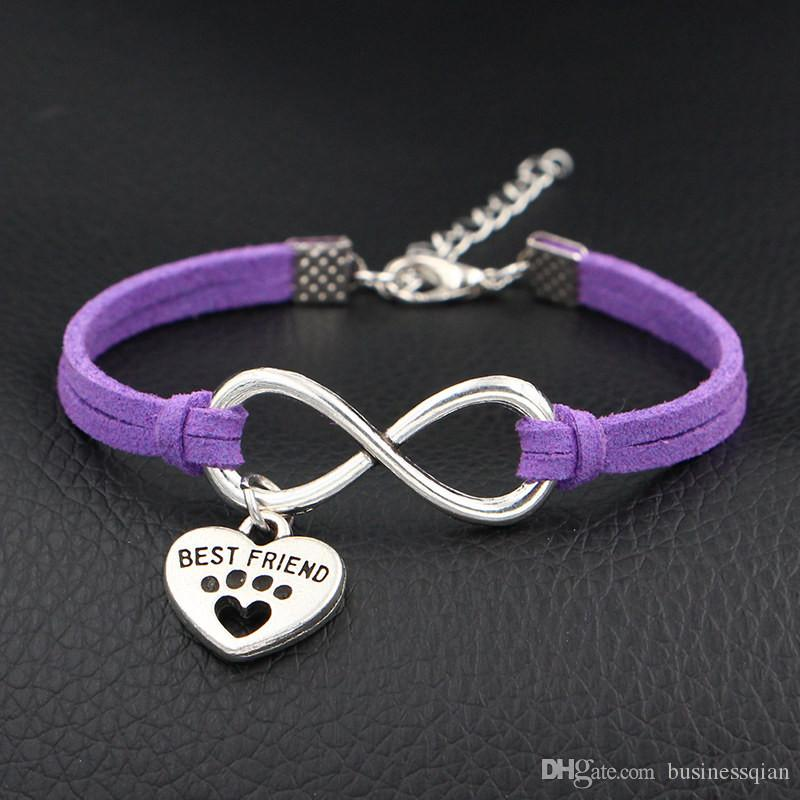 Vintage Single Layer Weaving Purple Leather Suede Bracelet Charm Handmade Braided Infinity Love Dog Best Friend Dog Paw Prints Heart Jewelry
