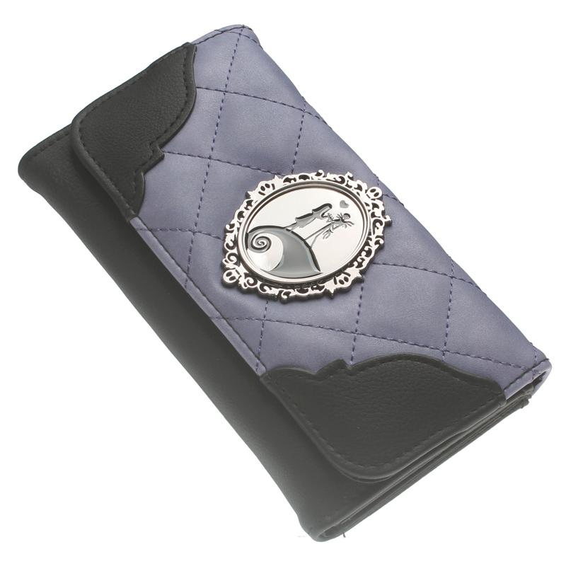 Jack and Sally Metal badge Wallet Black/purple Grid embroidered Women purse The Nightmare Before Christmas DFT-6019