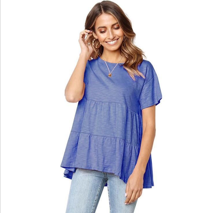 e10d02fbc4 ... Sale Women Designer Blouse Women Loose Short Sleeves Ruffle Tops Solid  Color Comfortable Casual Sweet Womens T Shirt Designer Tee Best T Shirt  Online ...