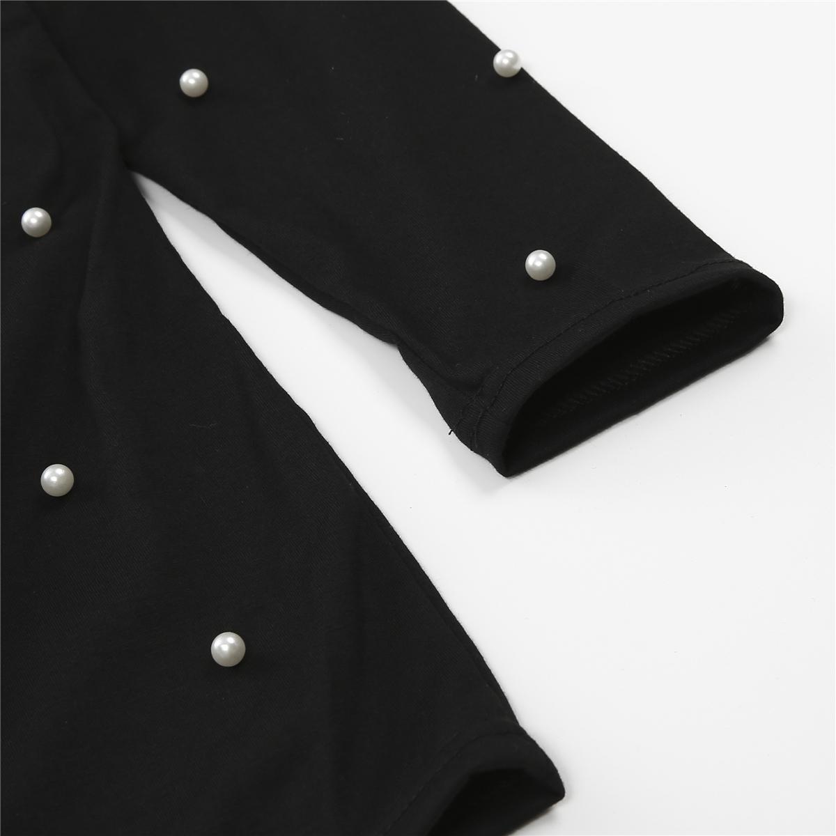 Мода женщины жемчуг бисероплетение V Cut колье повседневная футболка с длинным рукавом топы Cut дамы топы