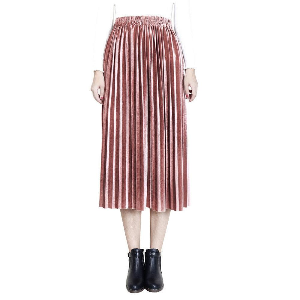 88f9949c83 2019 All Seasons Women Fashion High Waisted Elastic Waist Long Pleated  Skirts Solid Color Casual Party Pleated Skirt From Lookpack, $30.02 |  DHgate.Com