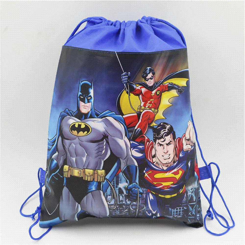 1pc lot Baby Shower Lego Decoration Drawstring Non-woven Fabric Batman Gifts  Bags Birthday Party backpack Kids Favors supplies 02192f5dfd7f1