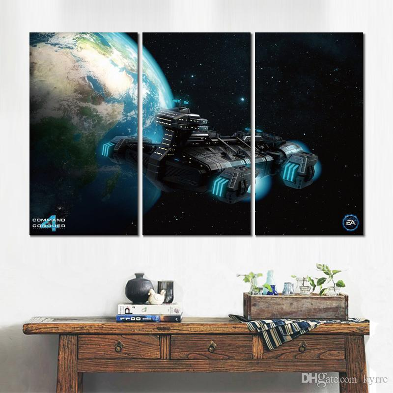 Canvas prints art stratospheric transport ship in cc 3 modular pictures wall pictures printed on canvas for decor no frame