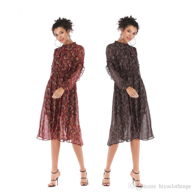 The New Dresses Fashion Floral Bowknot Chiffon Dress Loose Long ... 44d43175136d