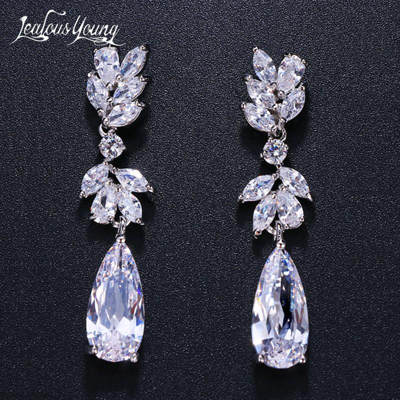 White Color Flower Shape Zircon Drop Earrings Water Drop Crystal Long Wedding Earrings For Women Bridal Jewelry Gift brinco