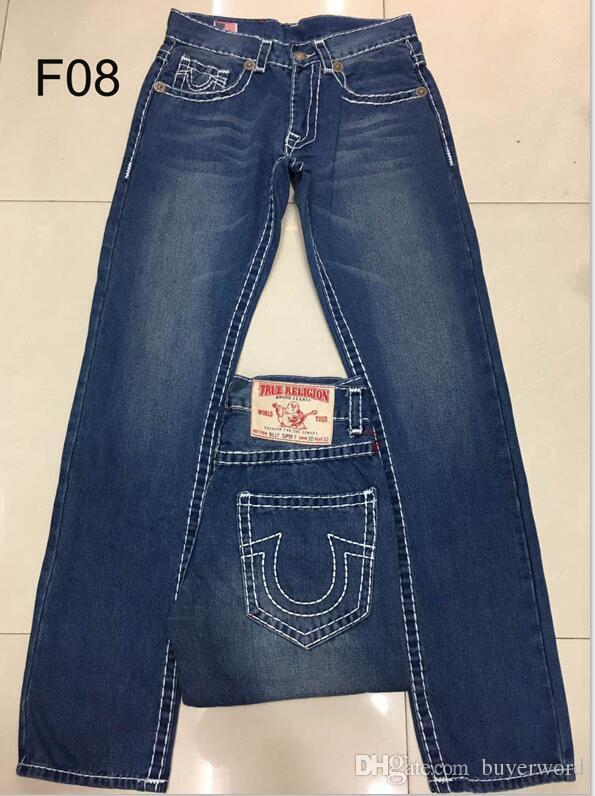 27e0cb8728 Compre 2018 Nuevos Hombres True Jeans Pantalones De Mezclilla De Alta  Calidad De Color Sólido Oscuro Recto Tr Jean Para Hombres Pantalones Envío  Gratis 1688 ...