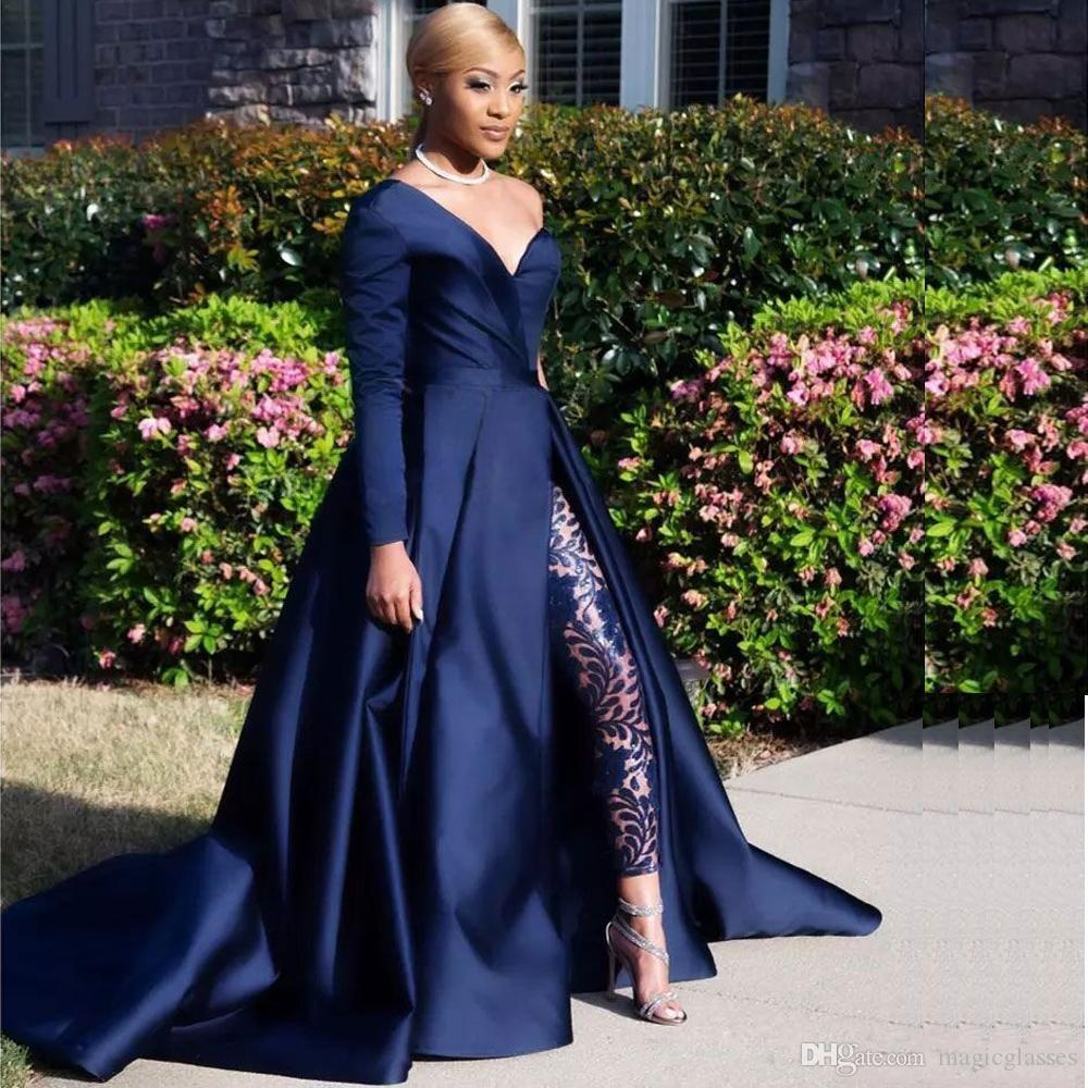 2019 Modest Blue Jumpsuits Two Pieces Prom Dresses One Shoulder Front Side Slit Pantsuit Evening Gowns Party Dress Plus Size Robes De Soirée