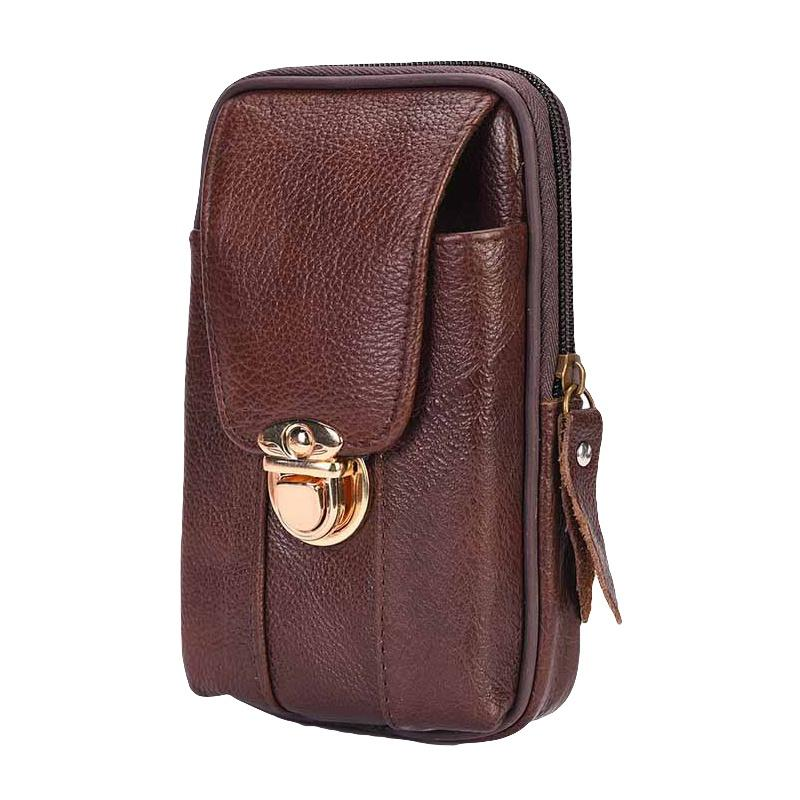 268e5eacf65 2019 Men Retro Leather Belt Bag Zipper Metal Buckled Wear Waist Bag Phone  Case Pouch Wallet Cell Phone From Suipao