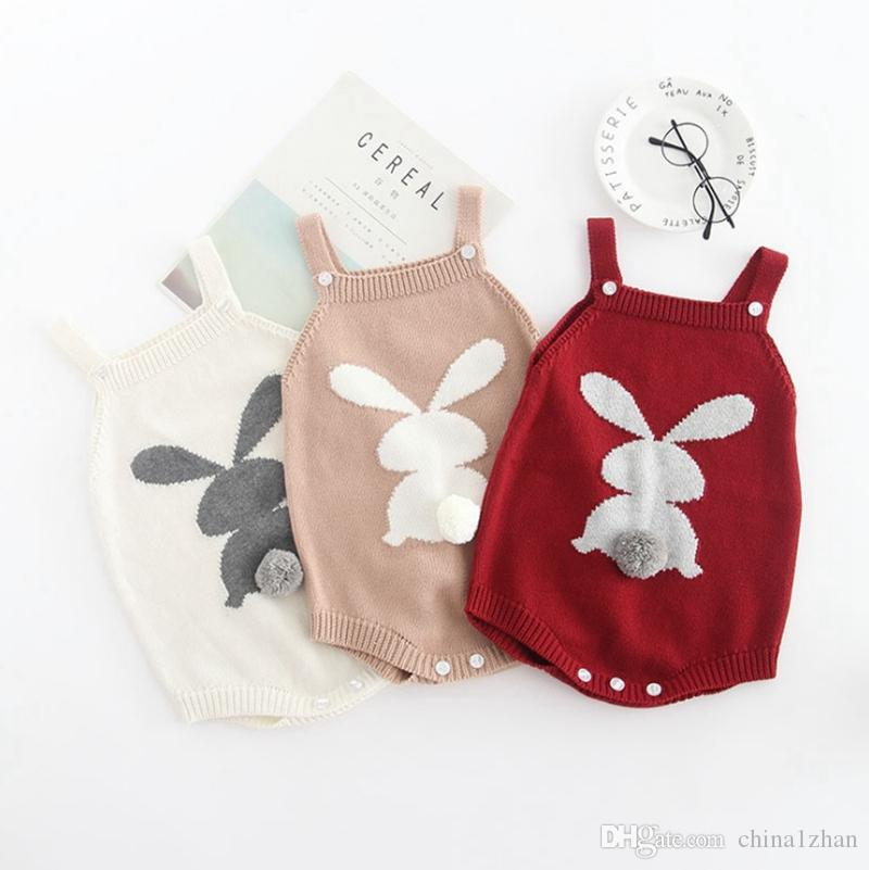 1ab06a645 2019 INS Baby Romper Rabbit Tail Infant Suspender Jumpsuits 100 ...