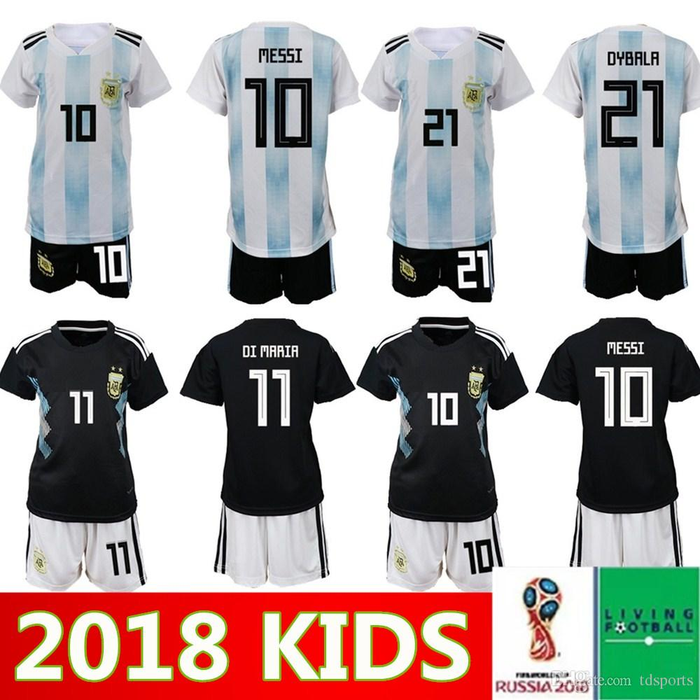 info for 74dd2 d1350 2018 world cup Argentina soccer Jersey Kids Kit 2018 Argentina home white  Soccer Jerseys MESSI DYBALA Child Soccer Shirts uniform jersey