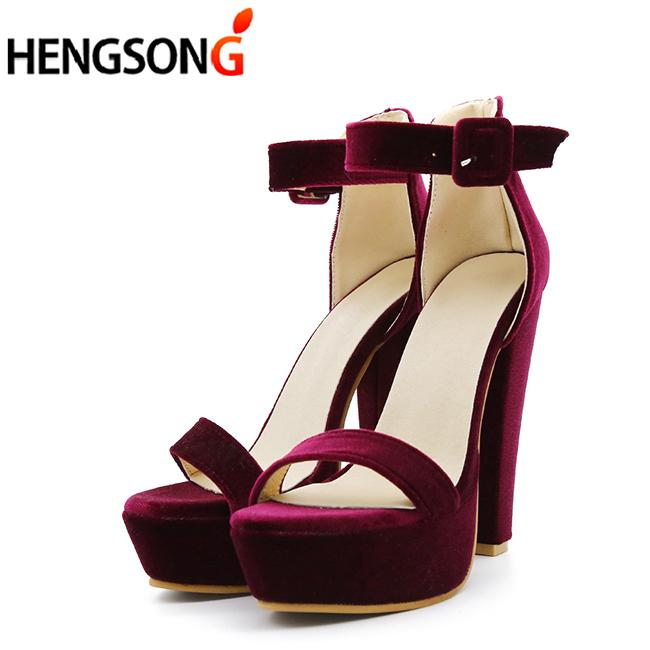 98102e5e90b 2019 Ankle Strap Heels Women Velvet Flock Sandals Summer Women Open Toe  Chunky High Heels Party Dress Sandals Size 34 43 Shoes For Men Womens Shoes  From ...